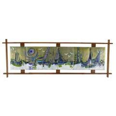 Enameled Brass Six-Panel Abstract Harbor Scene In Walnut Frame