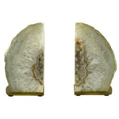 Pair Geode Bookends on Brushed Brass Plinths