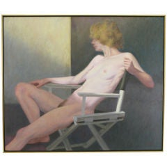 "Robert Kinsell 33""x 39"" Oil Painting of Reclining Nude Woman"