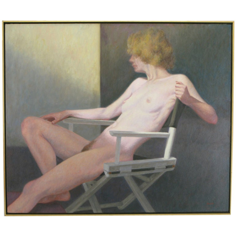 "Robert Kinsell 33""x 39"" Oil Painting of Reclining Nude Woman 1"