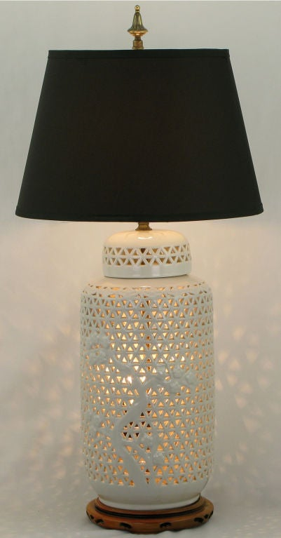Blanc De Chine Reticulated Ceramic Table Lamp At 1stdibs