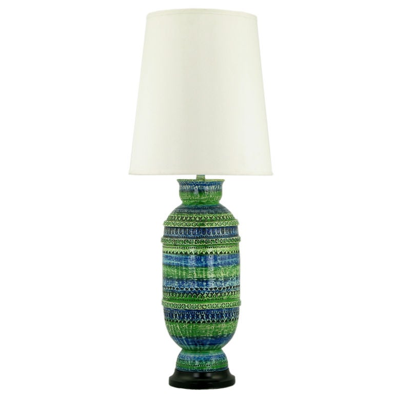 Turquoise blue and green ceramic bodied table lamp at 1stdibs