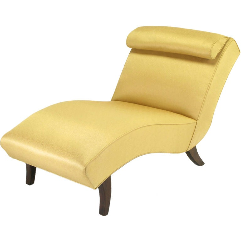 Sculptural chaise longue in saffron silk damask at 1stdibs for Black and white damask chaise lounge
