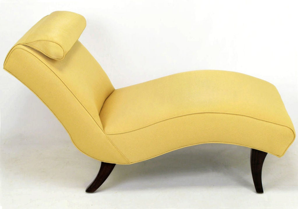 Sculptural chaise longue in saffron silk damask at 1stdibs for Black damask chaise longue