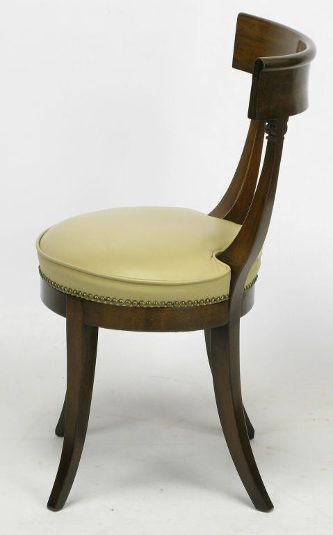 walnut neoclassical desk chair with round leather seat at 1stdibs