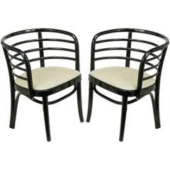 Pair Kohn Mundus Black Lacquer & Linen Bentwood Chairs