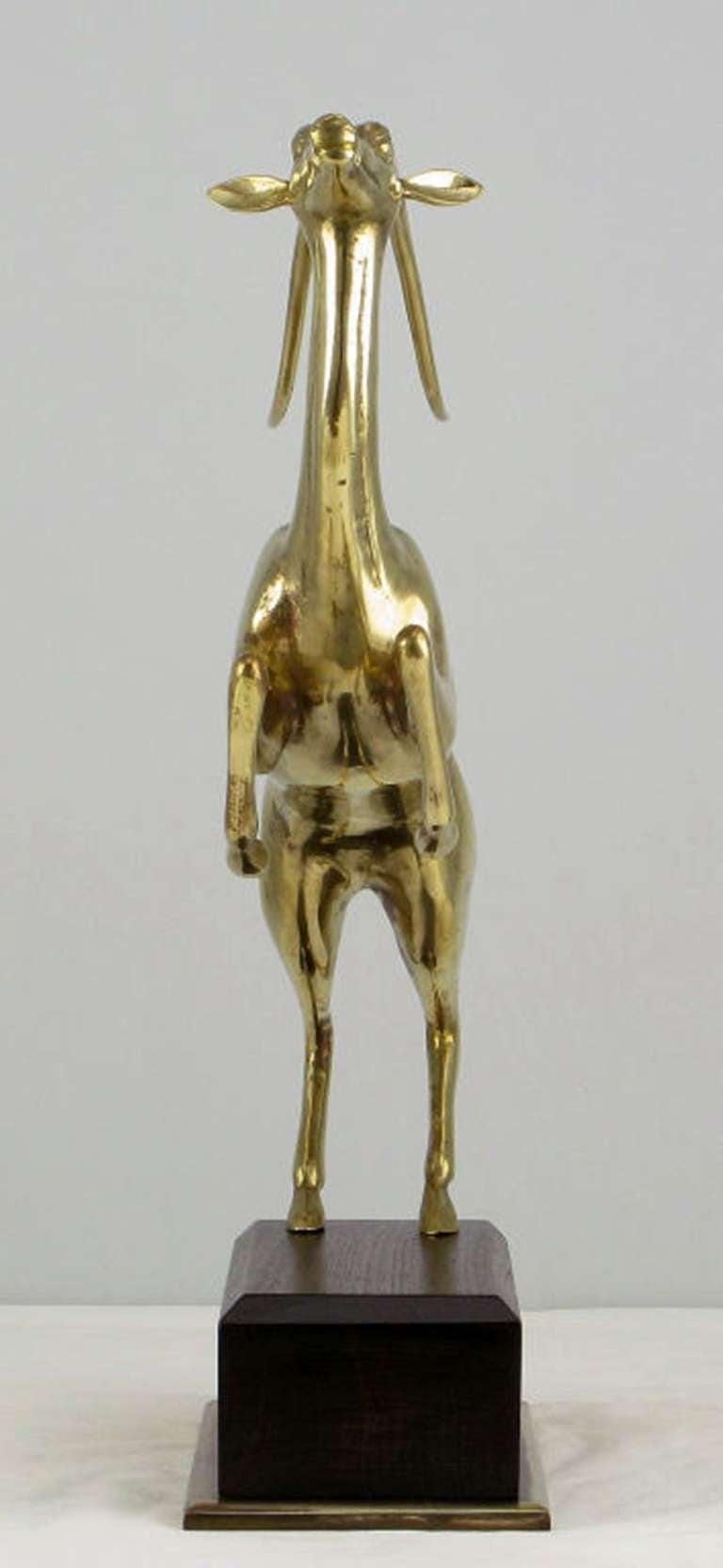 Large Brass Gazelle Sculpture On Walnut & Brass Pedestal. For Sale 2