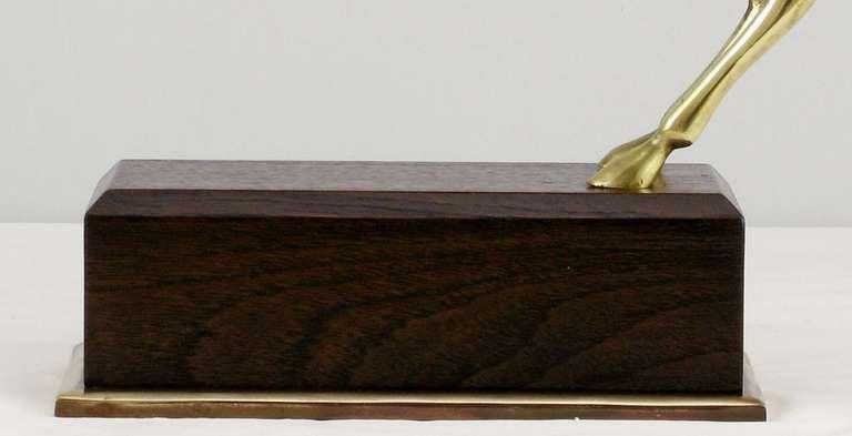 Large Brass Gazelle Sculpture On Walnut & Brass Pedestal. For Sale 5