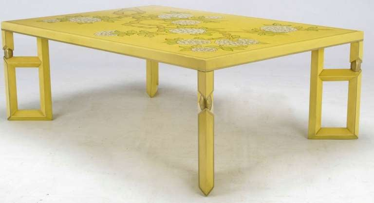 Yellow Lacquer and Hand Painted Sakura Blossom Coffee Table By Baker