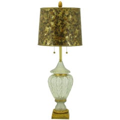 Marbro Crystal Vase Table Lamp With Brass Trim