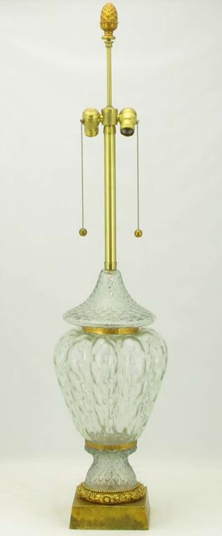 Marbro Crystal Vase Table Lamp With Brass Trim For Sale at