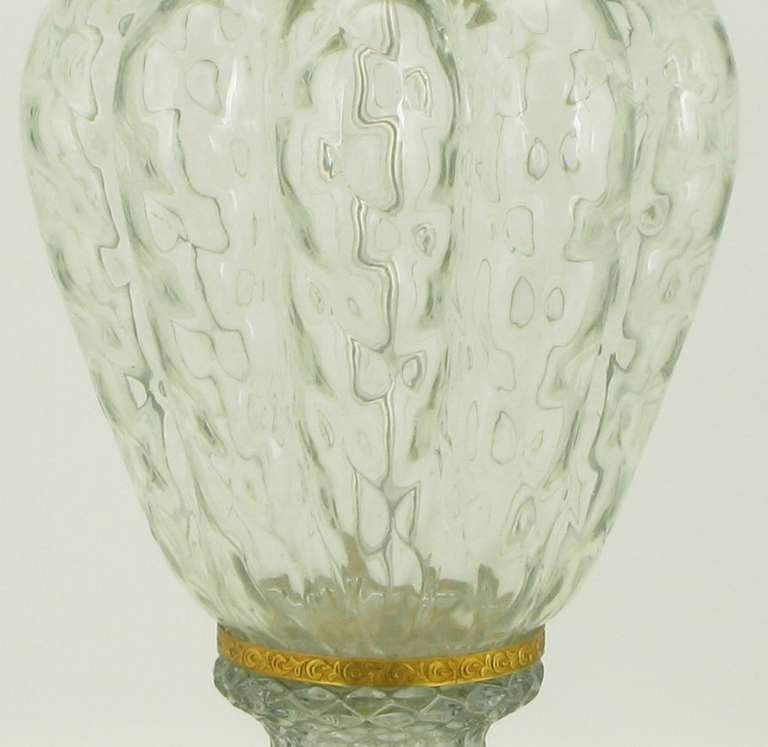 Mid-20th Century Marbro Crystal Vase Table Lamp with Brass Trim For Sale