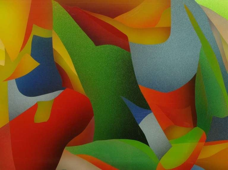 Large and Colorful Abstract Reverse Screen Print on Acrylic, circa 1978 In Good Condition For Sale In Chicago, IL