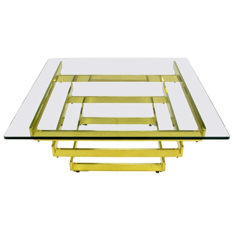 Architectural Stacked Solid Brass Bar and Glass Coffee Table For Sale