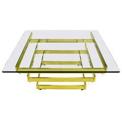 Architectural Stacked Solid Brass Bar and Glass Coffee Table