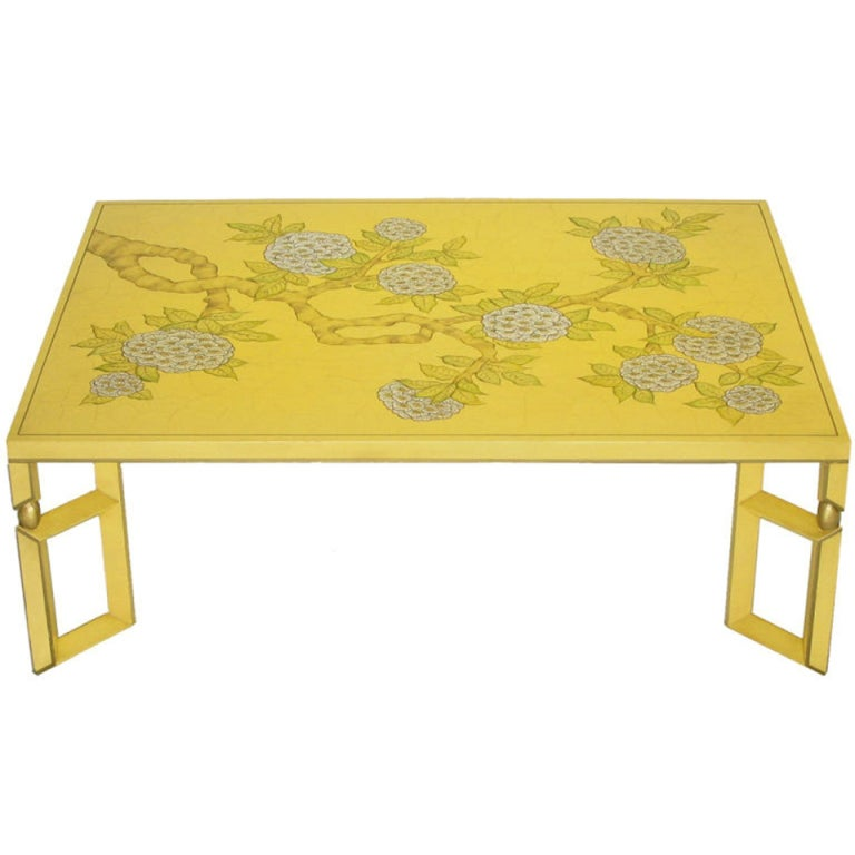 Yellow Lacquer And Hand Painted Sakura Blossom Coffee Table By Baker At 1stdibs