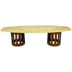 Harvey Probber Terrazzo and Mahogany Double Dodecagon Coffee Table