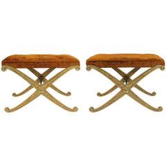 Pair of Palladio Italian Copper Leaf X-Base Benches