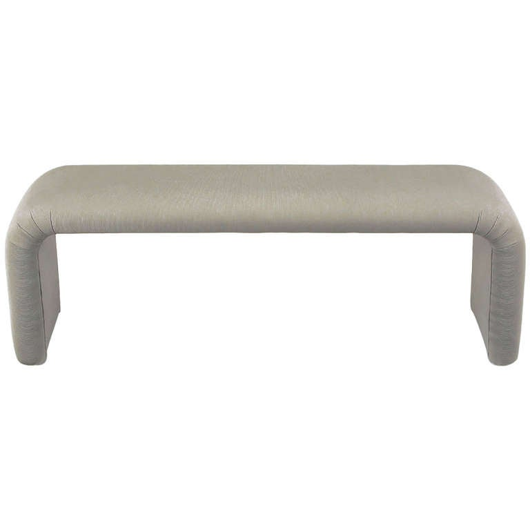 Grey Silk Blend Fully Upholstered Waterfall Bench At 1stdibs