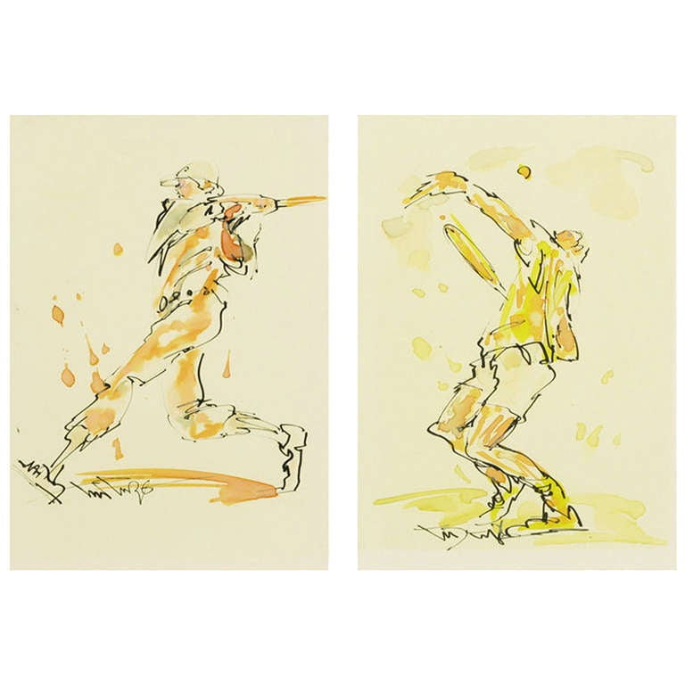 Pair Sports Themed Water Color & Ink Paintings, Signed