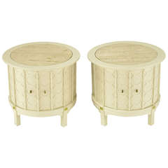 Pair of Bone Lacquer Cylinder Tables with Travertine Inlaid Tops