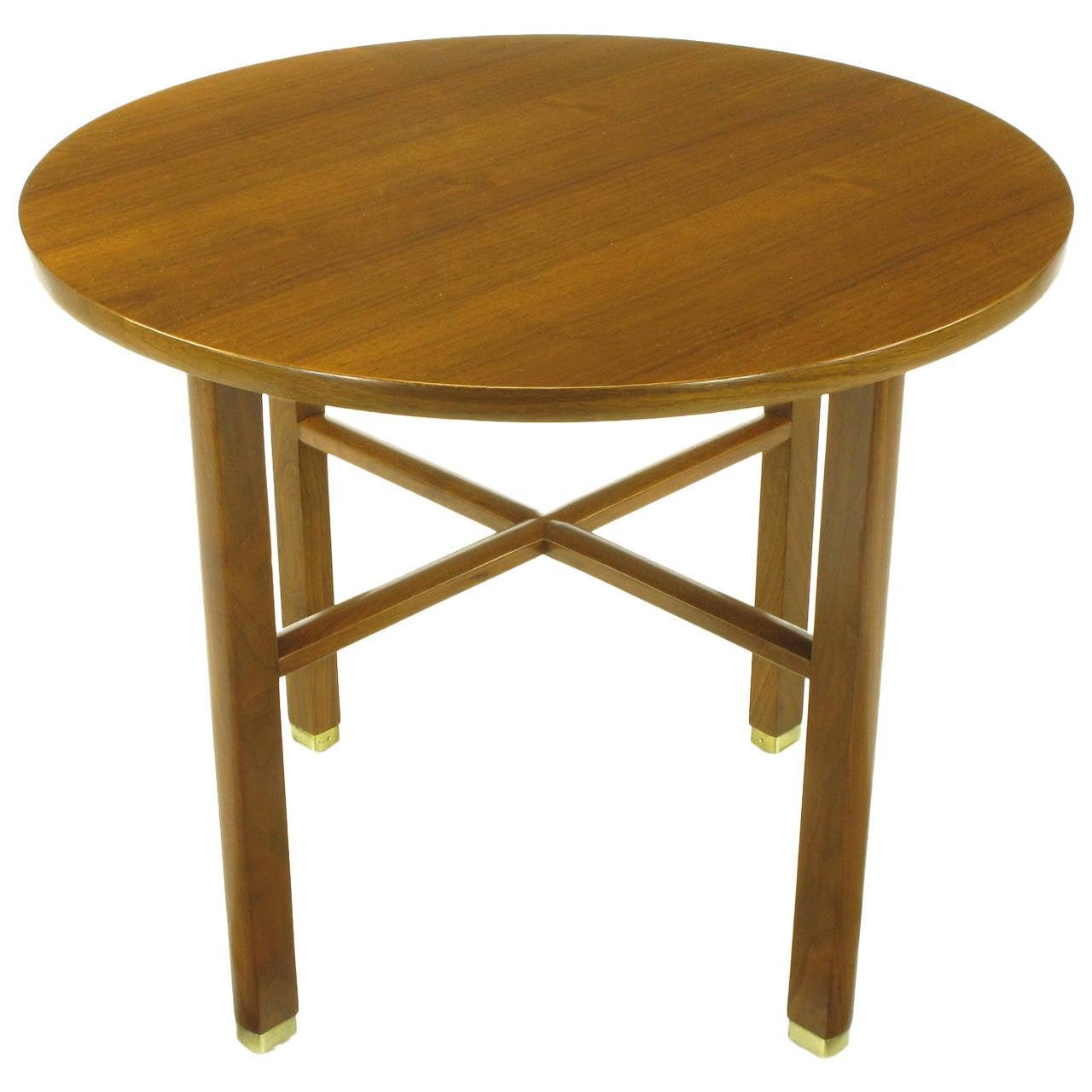 Edward Wormley for Dunbar Walnut X Stretcher Side Table