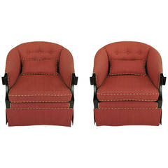 Pair of Winsor White & William Millington for Baker Continental Club Chairs