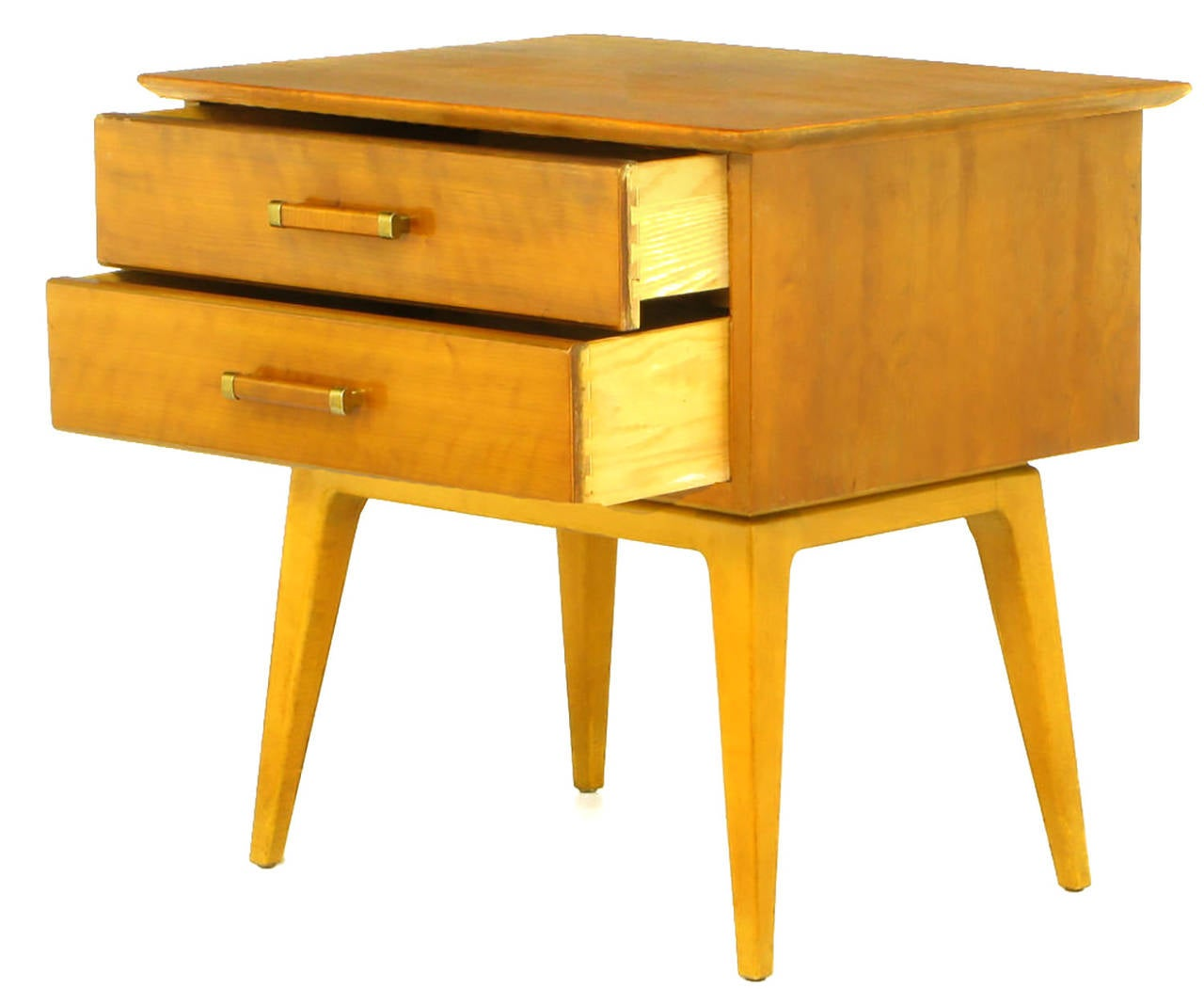 Pair of Renzo Rutili Two-Drawer Nightstands in Bleached Walnut In Excellent Condition For Sale In Chicago, IL