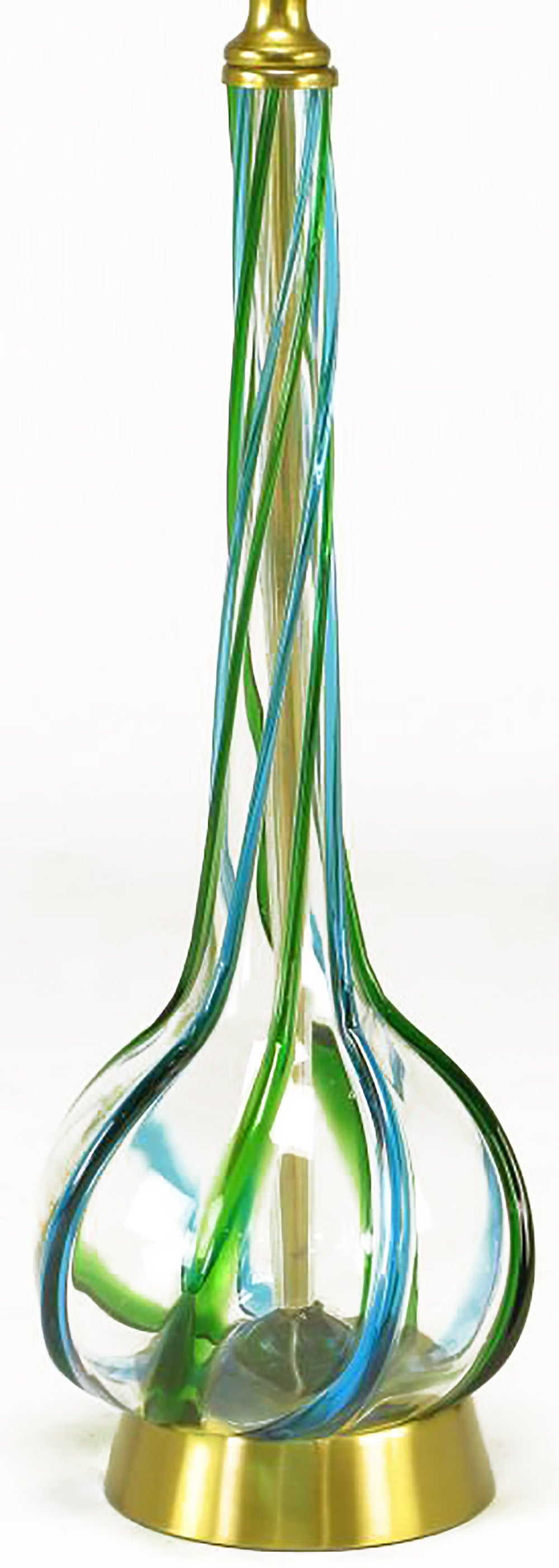 Italian Pair of Murano Blue and Green Ribbon Glass Table Lamps For Sale