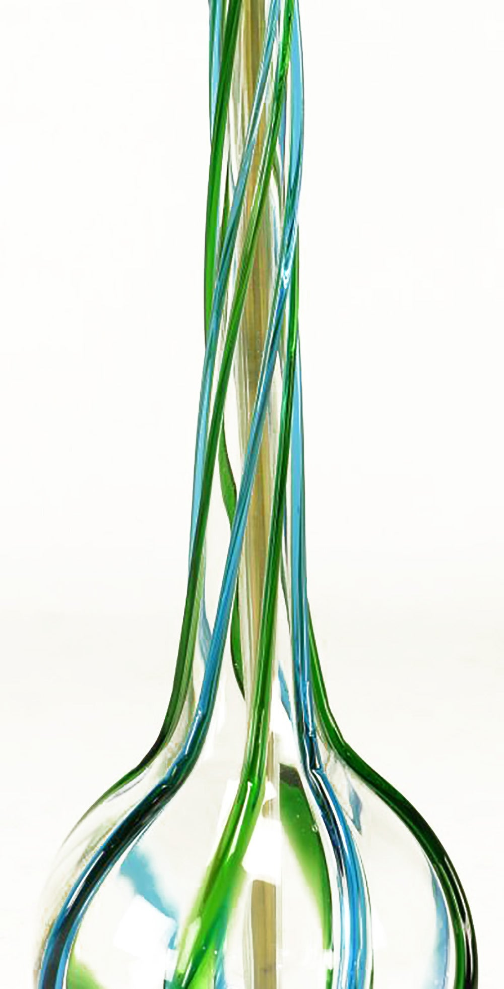 Pair of Murano Blue and Green Ribbon Glass Table Lamps In Excellent Condition For Sale In Chicago, IL