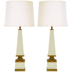 Pair of Venetian Mirrored Obelisk and Giltwood Table Lamps