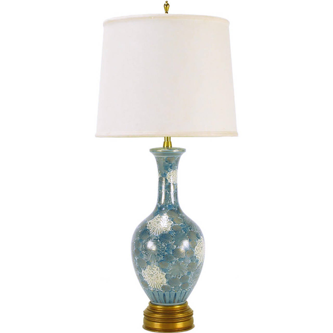 Marbro Hand-Painted Blue and White Chrysanthemum Table Lamp For Sale