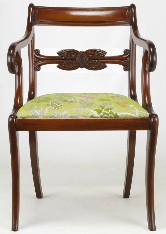 English Regency Mahogany Scrolled Arm Desk Chair At 1stdibs