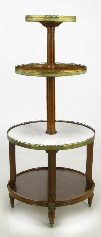 French Walnut And Carrera Marble Round Four Tier Serving