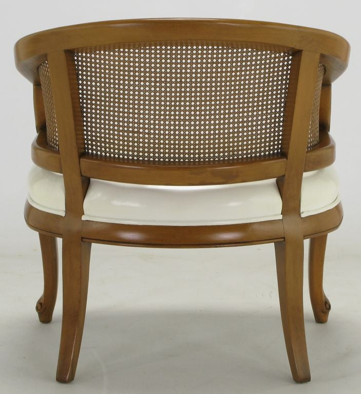 french regency walnut and white leather cane back chair for sale at 1stdibs. Black Bedroom Furniture Sets. Home Design Ideas