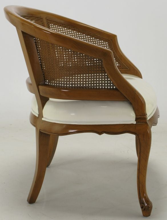 French Cane Chair french regency walnut and white leather cane back chair for sale