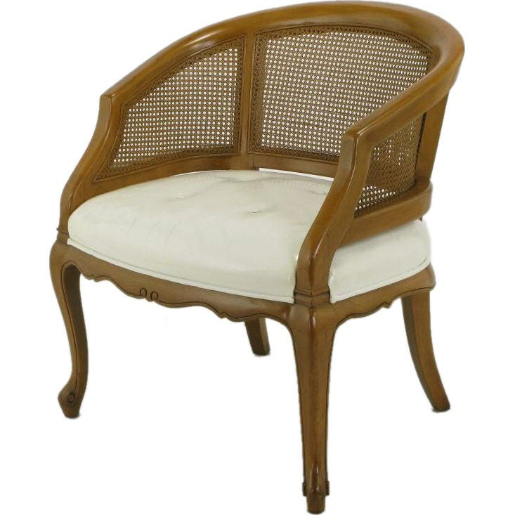 French Regency Walnut And White Leather Cane Back Chair