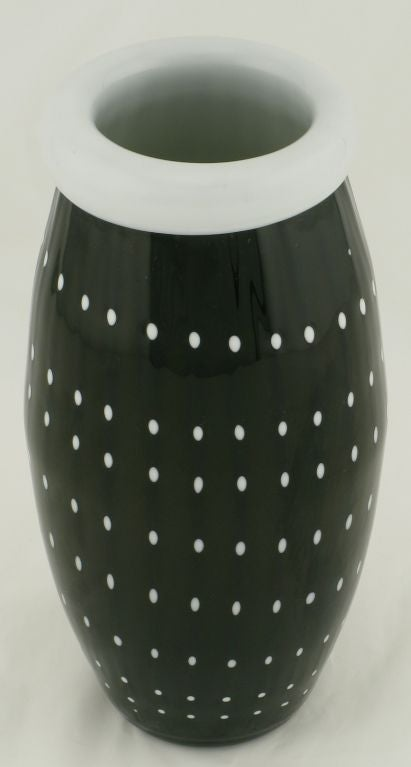 Black Murano Cased Glass Vase With White Polka Dots For Sale At 1stdibs