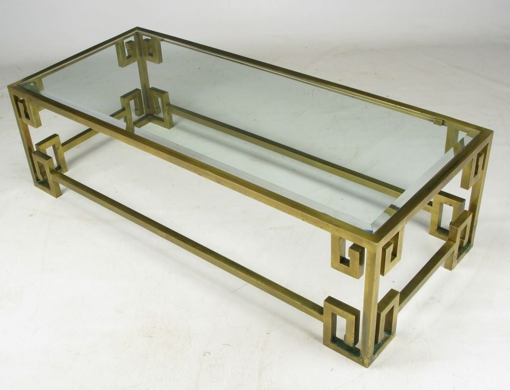 Mastercraft Greek Key Brass And Glass Coffee Table At 1stdibs