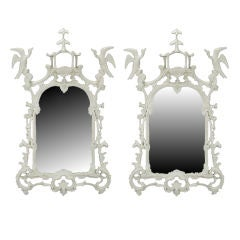 "Pair 54"" Carved White Lacquer Chinese Chippendale Wall Mirrors"