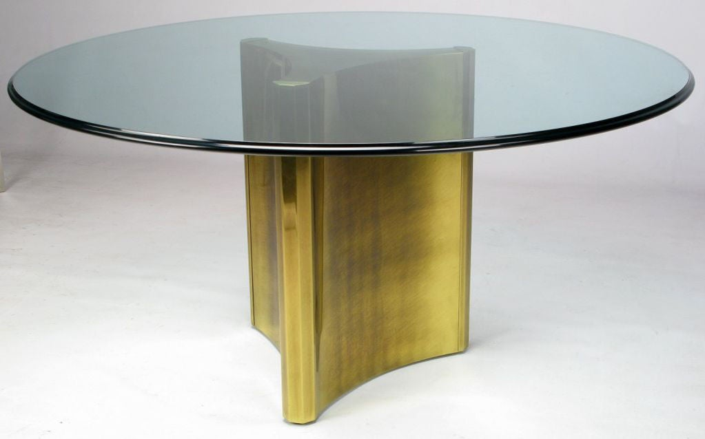 mastercraft antiqued brass pedestal and glass dining table at 1stdibs