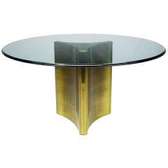 Mastercraft Antiqued Brass Pedestal & Glass Dining Table