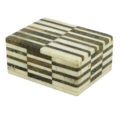 Tessellated Black and White Carrera Marble Box