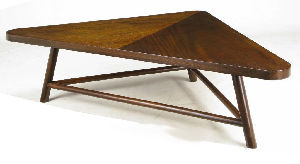 T H Robsjohn Gibbings Triangular Walnut Coffee Table At 1stdibs