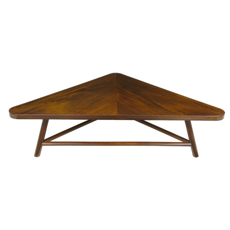 Robsjohn gibbings triangular walnut coffee table at 1stdibs