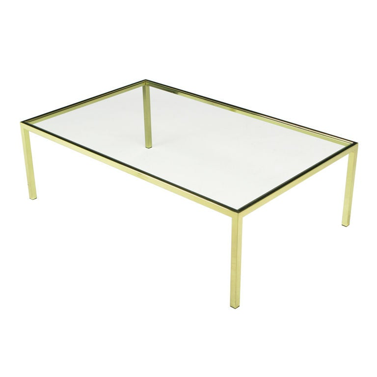 Brass Square Bar Parsons Coffee Table At 1stdibs