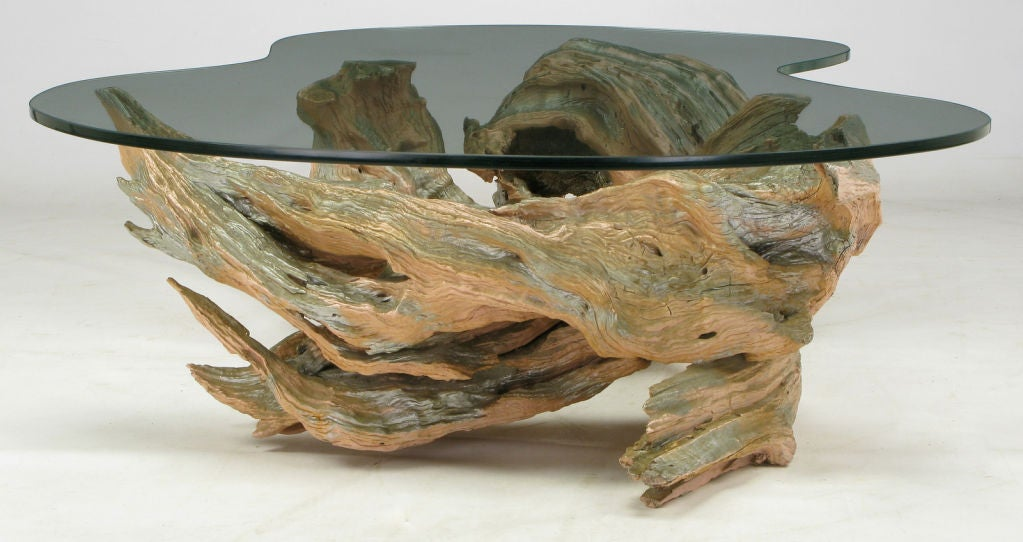 Driftwood form coffee table of cast resin at 1stdibs for Driftwood tables handmade