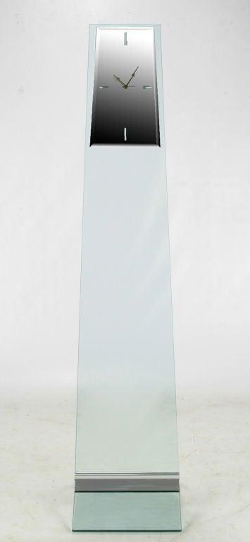 Tall Post Modern Plate Glass & Steel Floor Clock 2
