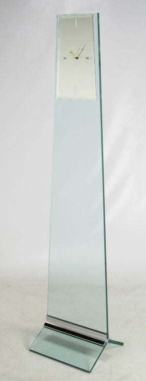 Tall Post Modern Plate Glass & Steel Floor Clock 3