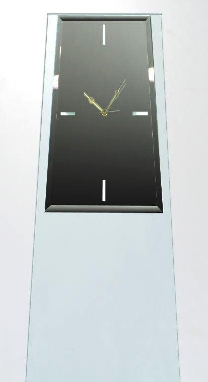 Tall Post Modern Plate Glass & Steel Floor Clock 4